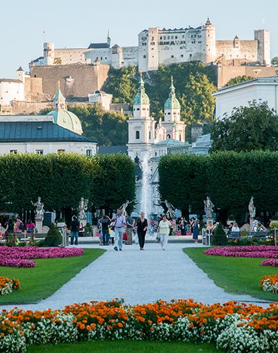 Mirabell Gardens and Salzburg Fortress, Salzburg, Austria
