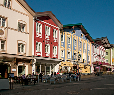 Buildings and sidewalk cafes in Mondsee, Salzkammergut, Austria